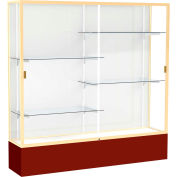 "Spirit Display Case Maroon Base, Gold Frame, White Back 72""W x 16""D x 72""H"