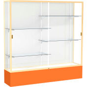 "Spirit Display Case Orange Base, Gold Frame, White Back 72""W x 16""D x 72""H"