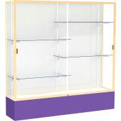 "Spirit Display Case Purple Base, Gold Frame, White Back 72""W x 16""D x 72""H"