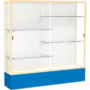 "Spirit Display Case Royal Blue Base, Gold Frame, White Back 72""W x 16""D x 72""H"