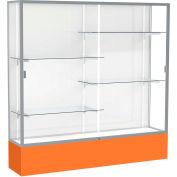 "Spirit Display Case Orange Base, Satin Frame, White Back 72""W x 16""D x 72""H"