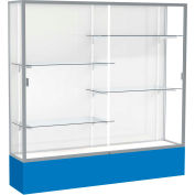 "Spirit Display Case Royal Blue Base, Satin Frame, White Back 72""W x 16""D x 72""H"