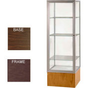 "Keepsake Display Case Walnut Vinyl Base, Bronze Frame, Clear Back 24""W x 72""H"