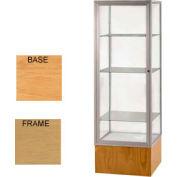 "Keepsake Display Case Autumn Oak Base, Gold Frame, Clear Back 24""W x 72""H"