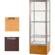 "Keepsake Display Case Autumn Oak Base, Bronze Frame, Mirror Back 24""W x 72""H"