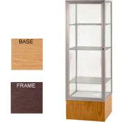 "Keepsake Display Case Light Oak Vinyl Base, Bronze Frame, Mirror Back 24""W x 72""H"