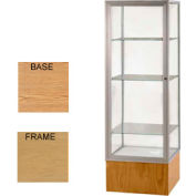 "Keepsake Display Case Light Oak Vinyl Base, Gold Frame, Mirror Back 24""W x 72""H"