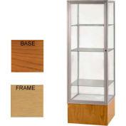 "Keepsake Display Case Carmel Oak Base, Gold Frame, Mirror Back 24""W x 72""H"