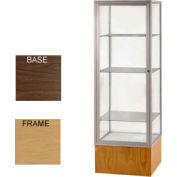 "Keepsake Display Case Walnut Vinyl Base, Gold Frame, Mirror Back 24""W x 72""H"