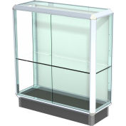 """Prominence Display Case Chrome Frame, Fabric Back 36""""W x 14""""D x 40""""H"""