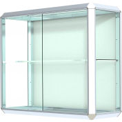 "Prominence Display Case Chrome Frame, Fabric Back 36""W x 14""D x 30""H"