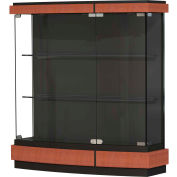 "Quantum Display Case Cherry, Black Laminate Back 42""W x 12""D x 44""H"
