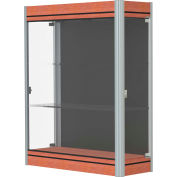 """Contempo Lighted Wall Case, Black Back, Cherry Base, Satin Frame, 36""""L x 44""""H x 14""""D"""