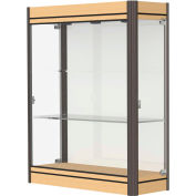 "Contempo Lighted Wall Case, White Back, Light Maple Base, Dark Bronze Frame, 36""L x 44""H x 14""D"