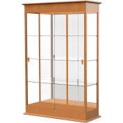 """Varsity Display Case Carmel Oak, Mirror Back, Sliding Door 48""""W x 18""""D x 77""""H"""