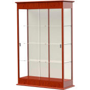"Varsity Display Case Cherry Oak, Fabric Back, Sliding Door 48""W x 18""D x 77""H"