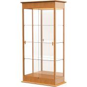 """Varsity Display Case Autumn Oak, Mirror Back 36""""W x 18""""D x 77""""H"""