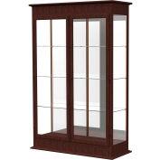 "Varsity Lighted Floor Case, Hinged Doors, Mirror Back, Espresso Frame, 48""L x 77""H x 18""D"