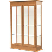 "Varsity Display Case Autumn Oak, Fabric Back, Hinged Door 48""W x 18""D x 77""H"