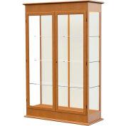 "Varsity Display Case Carmel Oak, Fabric Back, Hinged Door 48""W x 18""D x 77""H"