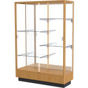 "Heritage Display Case Autumn Oak, Mirror Back 48""W x 18""D x 70""H"