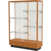 "Heritage Display Case Carmel Oak, Fabric Back 48""W x 18""D x 70""H"