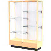 "Heritage Display Case Honey, White Back 48""W x 18""D x 70""H"