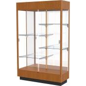 "Heritage Floor Case, Mirror Back, Carmel Oak Frame w/ Lighted Cornice, 48""L x 76""H x 18""D"