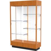 """Heritage Floor Case, White Back, Carmel Oak Frame w/ Lighted Cornice, 48""""L x 76""""H x 18""""D"""