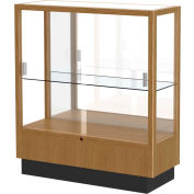 "Heritage Display Case Autumn Oak, Mirror Back 36""W x 14""D x 40""H"