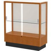 "Heritage Display Case Carmel Oak, Fabric Back 36""W x 14""D x 40""H"