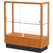 "Heritage Display Case Carmel Oak, White Back 36""W x 14""D x 40""H"