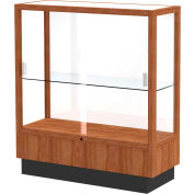 "Heritage Display Case Danish Walnut, White Back 36""W x 14""D x 40""H"