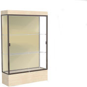 "Edge Lighted Floor Case, Silk Back, Dark Bronze Frame, 12"" Chardonnay Base, 48""W x 76""H x 20""D"