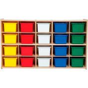 "20 Tray Cubby Storage, Unassembled w/Assorted Trays, 46-3/4""W x 12""D x 27-1/4""H"