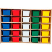 "25 Tray Cubby Storage, Assembled w/Assorted Trays, 46-3/4""W x 12""D x 33-7/8""H"
