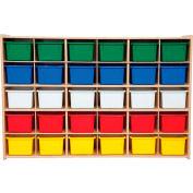 "30 Tray Cubby Storage, Unassembled w/Assorted Trays, 50-3/4""W x 12""D x 33-7/8""H"
