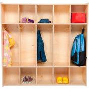 "Five Section Plywood Locker, Assembled, 46-3/4""W x 12""D x 46-3/4""H"