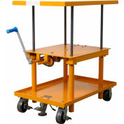 Wesco® Hand Crank Operated Mechanical Post Lift Table 274681 - 30 x 48 - Polyurethane Wheels