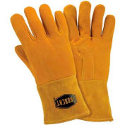 Ironcat Insulated Top Grain Reverse Deerskin MIG Welding Gloves, Gold, Large, All Leather - Pkg Qty 6