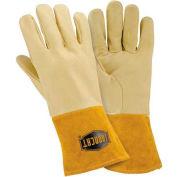 Ironcat Insulated Top Grain Reverse Deerskin MIG Welding Gloves, Gold, Medium, All Leather - Pkg Qty 6