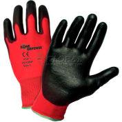 Zone Defense™ Red Nylon Shell Coated Gloves, Black Nitrile Palm Coat, Med - Pkg Qty 12