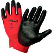 Zone Defense™ Red Nylon Shell Coated Gloves, Black Poly Palm Coat, Medium - Pkg Qty 12