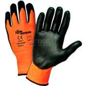 Zone Defense™ Orange HPPE Shell Cut Resistant Gloves, Black Nitrile Palm Coat, Med - Pkg Qty 12