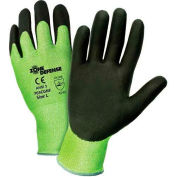 Zone Defense™ Green HPPE Shell Cut Resistant Gloves, Black Nitrile Palm Coat, Med - Pkg Qty 12