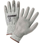 Touch Screen Gray PU Palm Coated Speckle Gray HPPE Gloves, Large - Pkg Qty 12