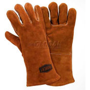 Ironcat Shoulder Split Cowhide Welding Gloves, Brown, Large, All Leather - Pkg Qty 12