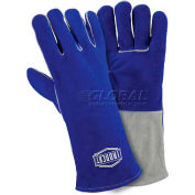 Ironcat Premium Side Split Cowhide Welding Gloves, Blue, Large, All Leather - Pkg Qty 12