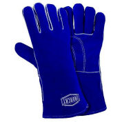 Ironcat Insulated Premium Side Split Cowhide Welding Gloves, Blue, Large, All Leather - Pkg Qty 12