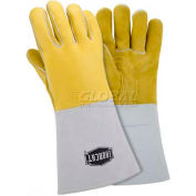 Ironcat Top Grain Elk Welding Gloves, Gold, Small, All Leather - Pkg Qty 6